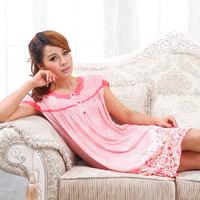 free shipping 2013 women's short-sleeve bamboo fibre nightgown sexy lace sleepwear lounge 100% cotton