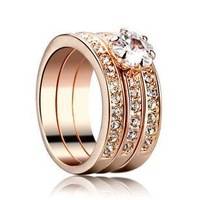 18K rose gold plated crystal stack 3 paved bands CZ ring, zircon stone wedding ring, wholesale free shipping ring for women