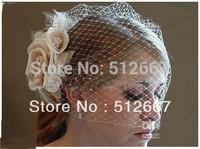 2013 Discount Bride Veil Comb Blusher Birdcage Ivory Champagne Flowers Feather Bridal Veil Wedding Dress