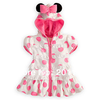 wholesales 5pcs/lot casual girl dress pink dot with hoodies baby clothing baby wear free shipping 275