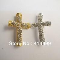 Bargain Item!!!Wholesale 12pcs/lot Cross Charm CZ Pave Rhinstone Jewelry Parts Alloy Findings Fashion Bracelet Accessory AC72
