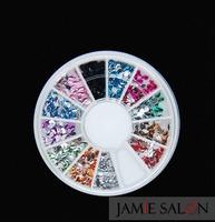 12 Colors Water Drop Shape New Mixed 3D Nail Art Tips Glitters Slice Rhinestones Beads Wheel 500pcs Free Shipping 20 Sets/lot