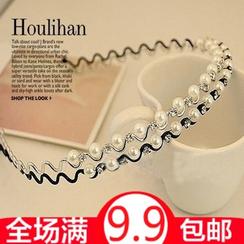 Small accessories pearl wave diamond hoop headband hair accessory female 15g