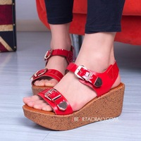 2013 focus of the girl fashion shoes color block patent leather platform sandals gladiator wedges