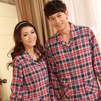 free shipping 2012 autumn knitted 100% full cotton classic fashion red plaid long-sleeve lovers sleepwear lounge