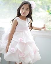 Child formal dress female child dress pink rose noble princess dress tulle dress puff skirt
