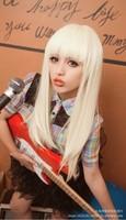 Yiwu wig anime show dedicated COS wig with long straight hair Qi Liu Hemmi white hair wig