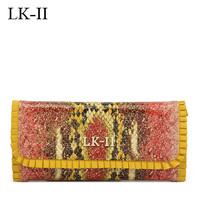 Lkii mohini fashion serpentine pattern three fold wallet bag female 2013 day clutch cowhide