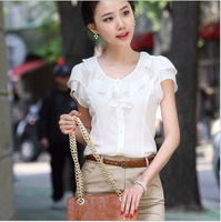 2013 new arrival Hot Sale Fashion Chiffon Blouse shirt for women Short Sleeve BLOUSE Womeng Tops V-Neck Two Colors free shipping