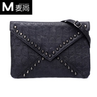 2012 punk skull rivet vintage envelope bag day clutch women's one shoulder messenger bag