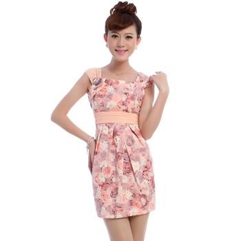 Free shipping 2013  cheongsam summer fashion young girl pink wardrobe qipao5104