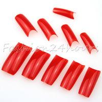 Wholesales 5packs/lot 500pcs Red Color French Acrylic False Nail Art Tips Nail Art