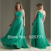 Custom Made New Hot style One Shoulder Chiffon Beaded Bridesmaid Dresses High Quality Sexy Prom Party Gown Free shipping