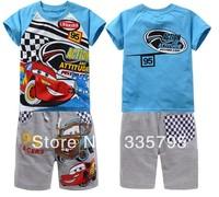 new! Free shipping (6set/1lot) children clothing set boys clothes cotton short sleeve t shirt + shors pants suit