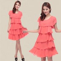 short-sleeved summer dress large size women fat mm summer was thin loose chiffon dress 2014 new