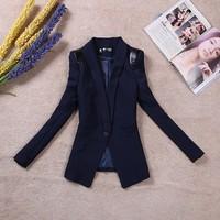 2014 women's spring outerwear slim leather shoulder pads medium-long blazer female blazer