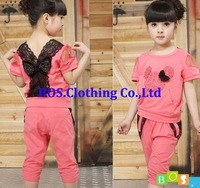 Children's clothing 2013 summer new girls baby lace casual two-piece fashion sets kids T-shirt and pants suits BOS.