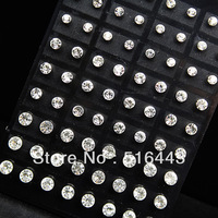 A-263  72pcs Mix size Good Czech Rhinestones Fashion Stud Earrings for Womens or Mens Wholesale Jewelry Lots