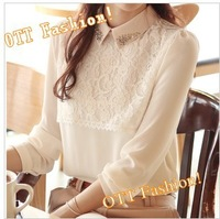 Size S-XXL Retro Autumn Winter 2014Beaded Pearl Point Collar Chiffon Blouse Women White Long Sleeve Pullover Shirt Clothes #1004