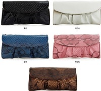 2013 Hot Snake Skin Clutch bags Fashion women's Evening Bag Purse Leather Shoulder bag with Colorful Free shipping XZ005
