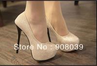 Sexy black fashion high-heeled shoes pointed toe thin heels single  women's platform shoes
