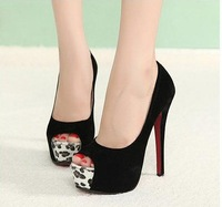 Two ways shoes 2013 single shoes women's shoes high-heeled shoes thin heels open toe sandals leopard print fashion