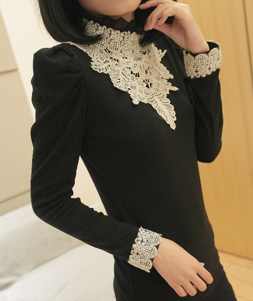 ... vintage lace puff sleeve slim long-sleeve basic knitted basic shirt