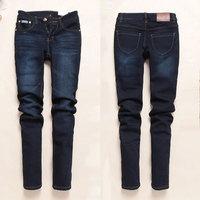 2013 women's thickening plus velvet jeans Dark Blue wearing white thermal slim trousers