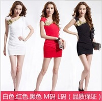 Fashion elegant oblique shoulder slim hip one-piece dress sexy dress