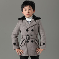 Winter fashion children's clothing cotton-padded fur collar wool coat male child woolen outerwear