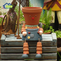 Garden decoration exquisite quality terracotta flower pot big head doll red pots wholesale/retail