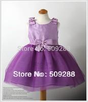 Beads Decor Bowknot Detail Bowknot Party Children Kids Dress Girls High-grade Princess Dresses Chiffon Polyester Dress Purple