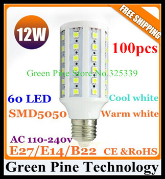 FedEX Free shipping 100 pcs E27 E14 B22 LED Corn Light 12W 5050 SMD 60 LED corn Bulb Super Bright 1100LM warm white/cold white