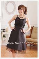 Best selling Black new plus size  strap waist V-neck Fashion short evening dress size Free XL XXL XXXL