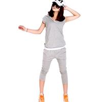 Casual set female fashion short-sleeve sports set sweatshirt women's plus size set