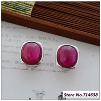 925 Pure Silver Jewelry Thai Silver Red Corundum new stylish atmosphere and beautiful lady. Earrings xh033157