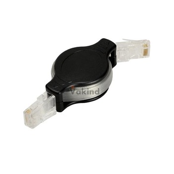 V1NF Portable Retractable RJ45 Ethernet LAN Internet Network Cable Black