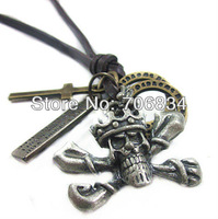 Free shipping leather neCklaces,HighQuality,Women Men Punk,Necklace,Fashion Jewelry,100%Genuine Leather,Handmade,Jewelry  PLO285