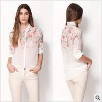 2013 New fashion womens' Floral print chiffion Turn down collar long shirt vintage OL blouse elegant casual brand designer tops