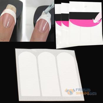 #F9s 3 X French Strip Nail Art Form Fringe Guides Sticker DIY Line Tips White