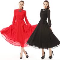 New spring 2014 winter dress star style women's long sleeve fashion elegant faux silk maxi chiffon dresses red black S,M,L
