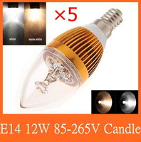 5pcs/lot E14 E27 E12 base fitting Dimmable 3w 6w 9w 12w AC85-265V warm /cold white LED candle bulb corn light