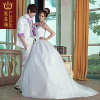New arrival 2013 bride wedding formal dress wedding dress strap style cascading pleated tube top train wedding dress