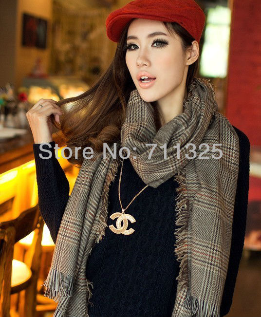 2014 new cashmere plaid grey pashmina warm thermal heavy scarf large size 200*80cm plus size(China (Mainland))