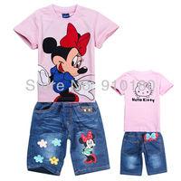 Free shipping 6 sets/lot girls cartoon Minnie Mouse+Hello Kitty summer clothing set kids t-shirt/top+shorts jeans 2pcs set