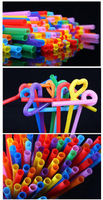 26cm*0.6cm art  disposable flexible drinking straw multicolour suckpipe juice straw
