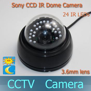 "1/3"" Sony CCD Color Waterproof Indoor 3.6mm 24pcs IR leds CCTV Serveillance Day Night Dome Camera 420TVL/600TVL/700TVL"