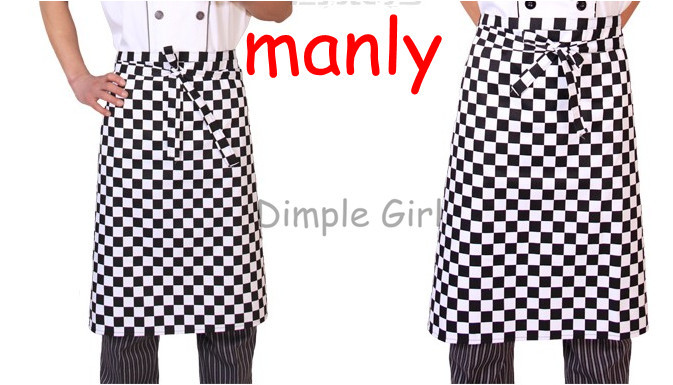 Household Cleaning Tools & Accessories fashion waist pattern black and white plaid manly vintage aprons kitchen cooking adult(China (Mainland))