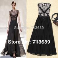 Free shipping 2014 Europe America women's fashion applique stitch lace patchwork dress chiffon dress 2014 new 9925