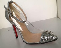 2013 fashion rivet transparent package with pointed toe 11.5cm thin heels ultra high heels single shoes
